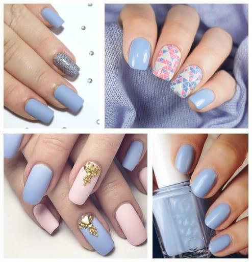 Ideias de unhas para madrinhas que usarão azul serenity ou bebê