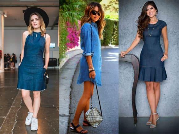 Inspirações de Modelos de vestidos jeans para usar de dia