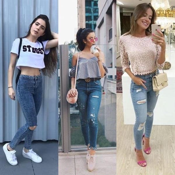 Jeans destroyed skinny está super na moda atualmente