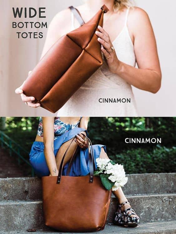 Leva a tote bag de couro para qualquer lugar
