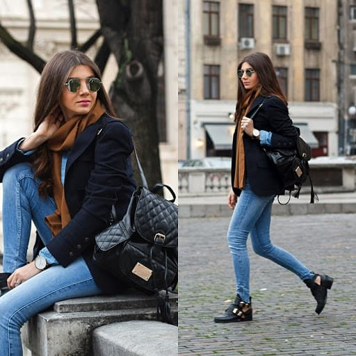 Look de inverno com calça skinny jeans