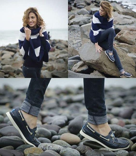 Look de inverno com dockside e calça jeans