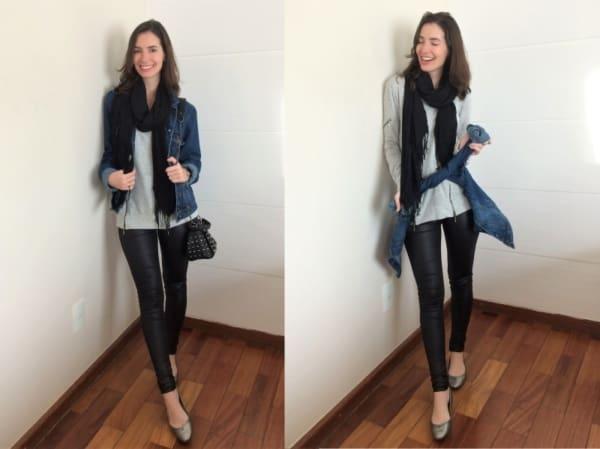 Look despojado com calça skinny preta de couro
