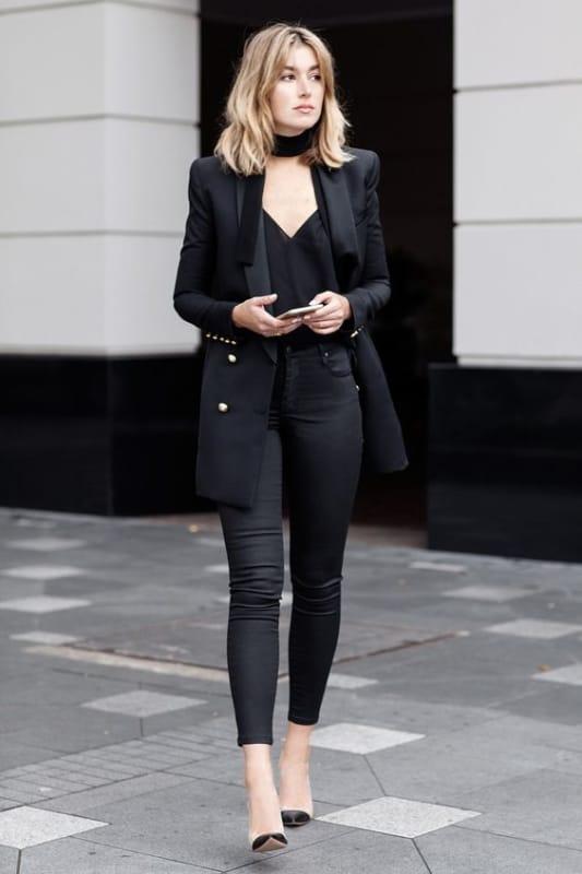 Look total black com calça skinny