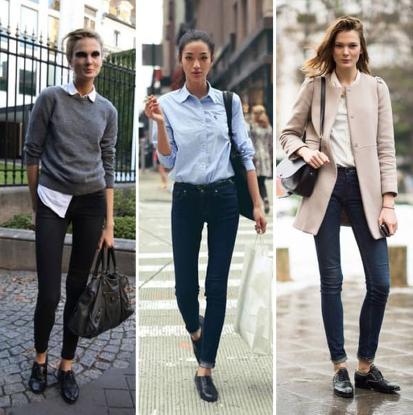 Looks femininos com oxfords simples pretos