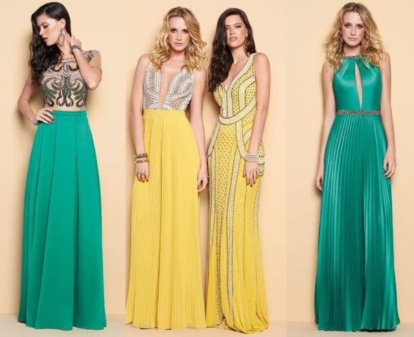 Modelos de vestidos amarelos e verdes para casamentos