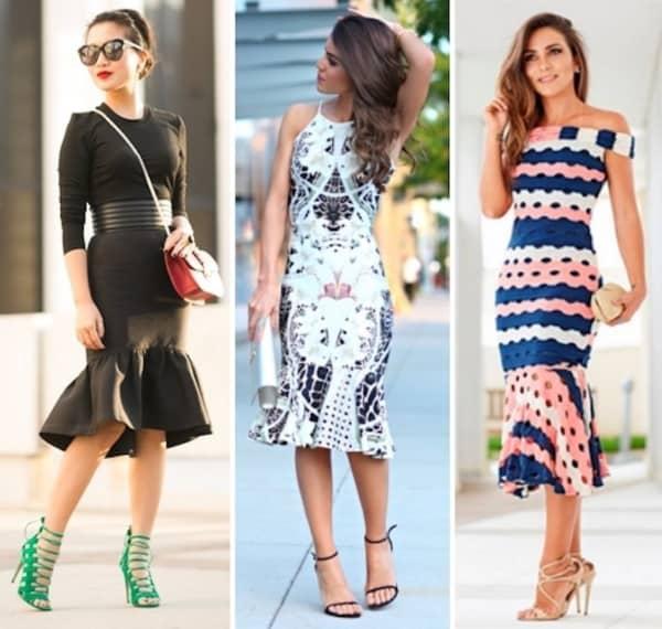 Modelos de vestidos midi sereia