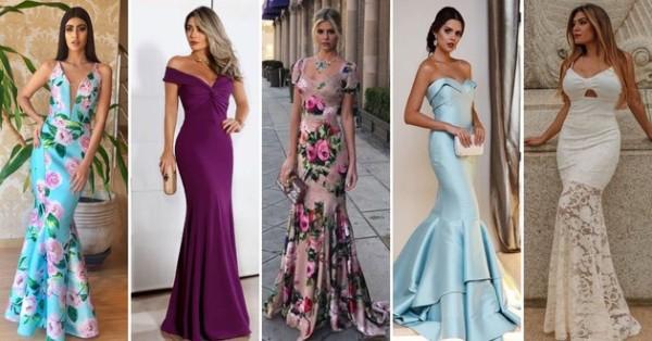Modelos de vestidos sereia de várias cores e estampas