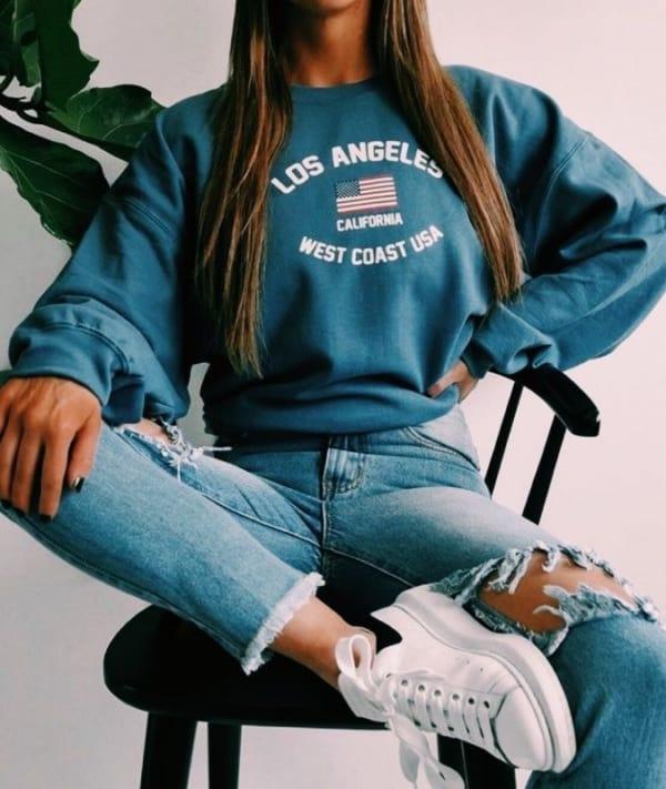 Moletom azul Los Angeles super estiloso