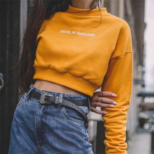 Moletom cropped amarelo para look Tumblt