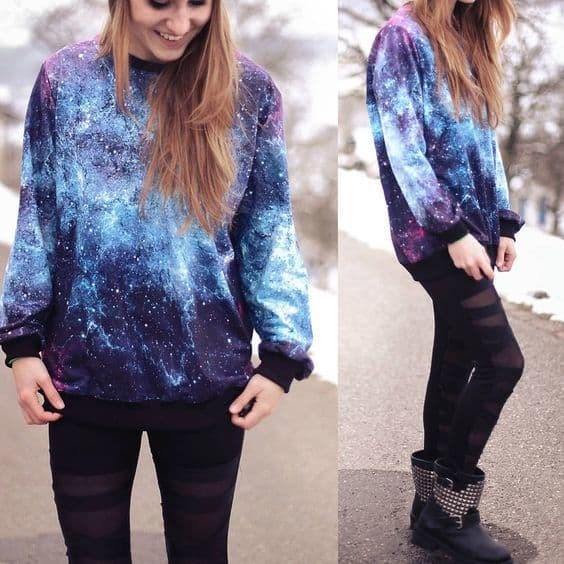 Moletom galaxy em tons de azul Tumblr