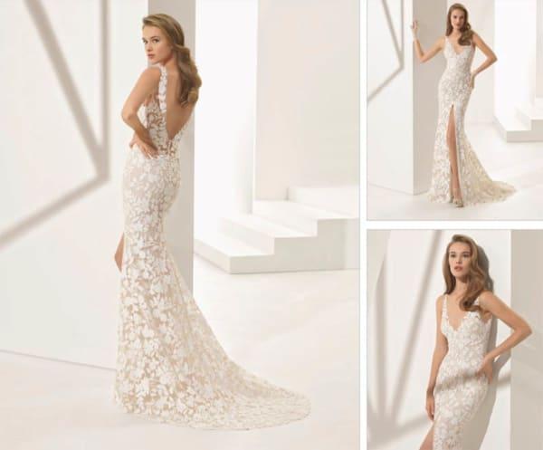Noiva com vestido longo de renda off white
