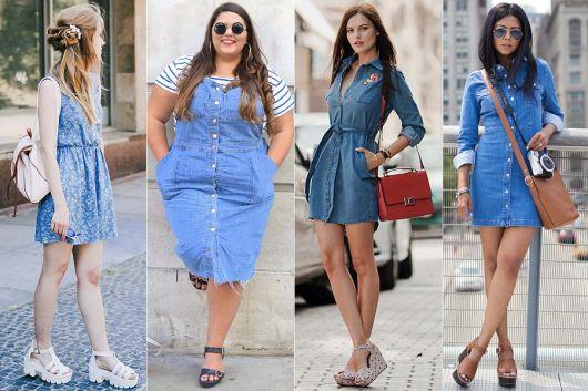 Quatro Modelos de vestidos jeans cheios de personalidade