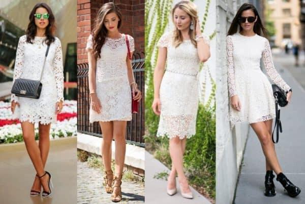 Quatro vestidos rendados em cor off white