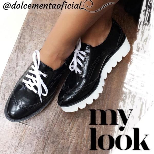 Sapato oxford com sola branca tratorada marca dolce menta oficial