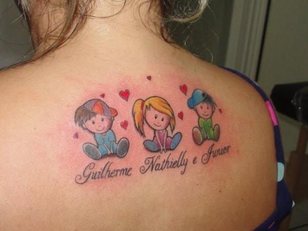 Tatuagem de bonequinhos para filhos ideias