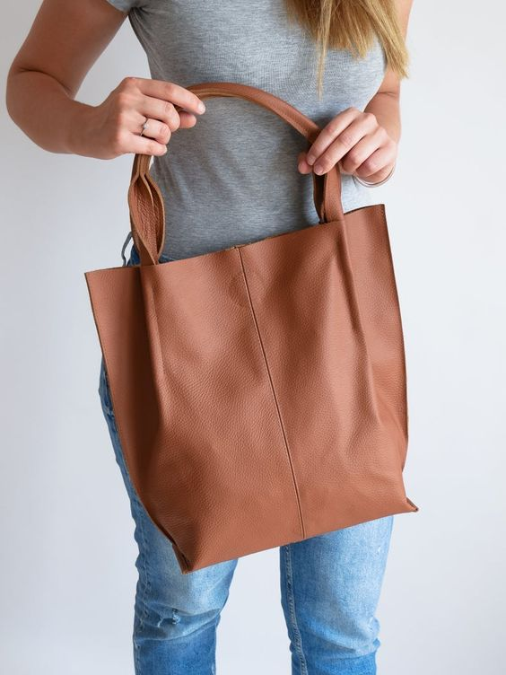 Tote bag simples cor caramelo