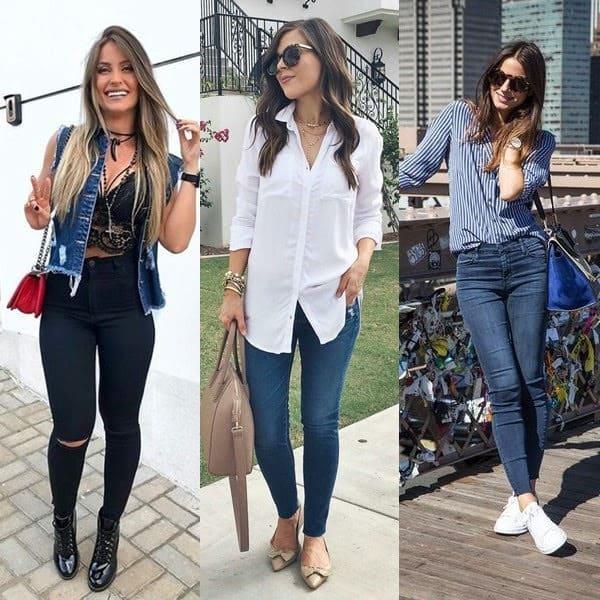 Três estilos de calçado com calça skinny