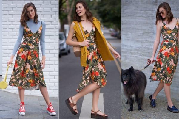 Três looks com o mesmo vestido floral