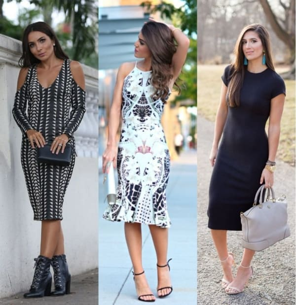 Três looks com modelos de vestidos midi