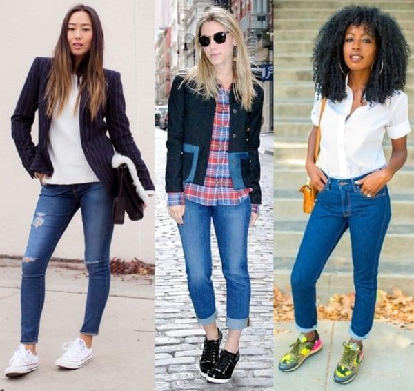 Três looks variados com tênis e calças skinny