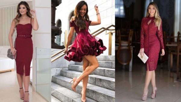 Três modelos de vestidos curtos marsala para madrinhas