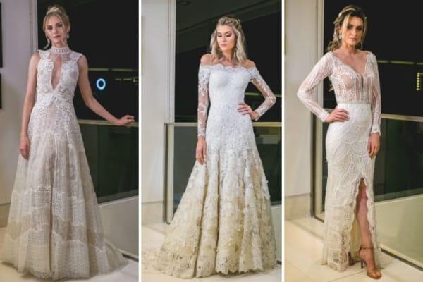 Três modelos de vestidos de noiva em tom off white