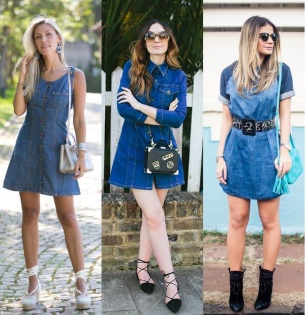 Três modelos de vestidos jeans para o verão