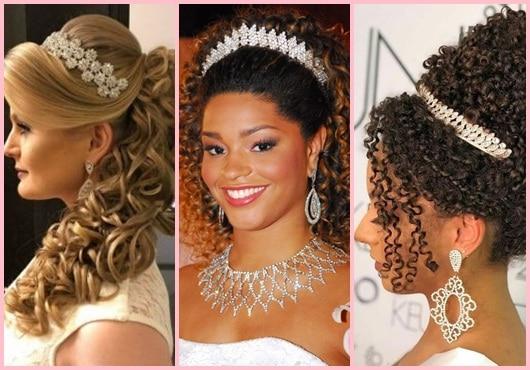 Três opções de coroas de noiva