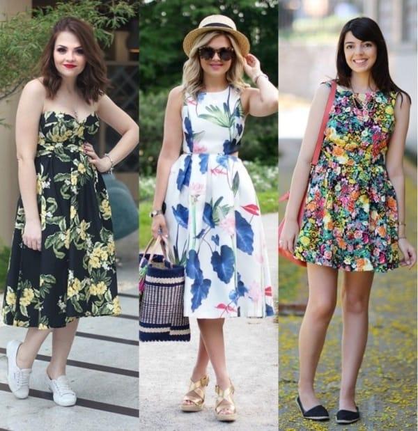 Modelos de vestidos florais rodados