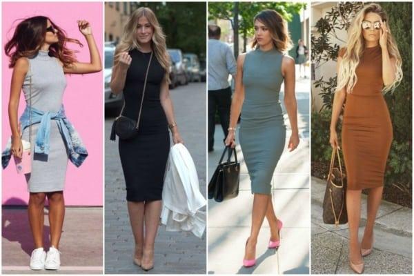 Modelos de vestidos tubinhos midi estão super na moda atualmente