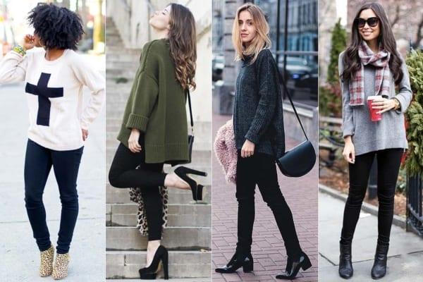 Use a calça preta skinny em looks de inverno
