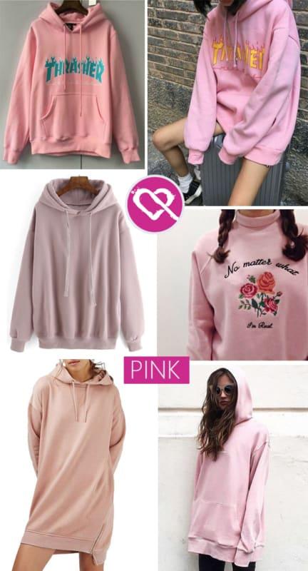 Vários modelos de moletons rosas Tumblr