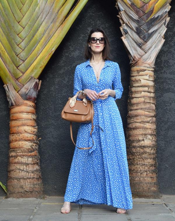 Vestido azul longo para o dia a dia 1
