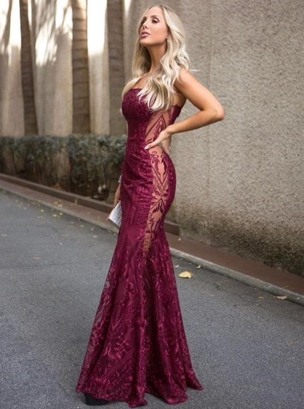 Vestido de madrinha marsala modelo sereia