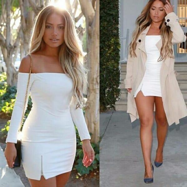 Vestido sexy off white curto