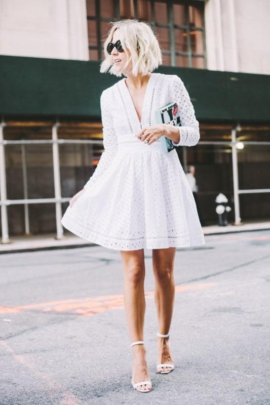 Vestido soltinho com mangas longas off white