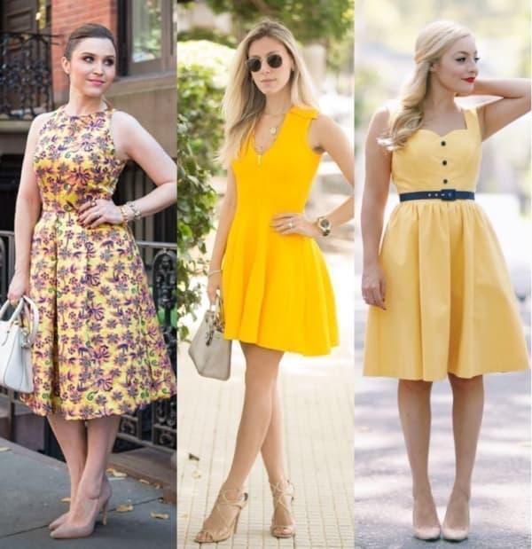 Modelos de vestidos amarelos rodados
