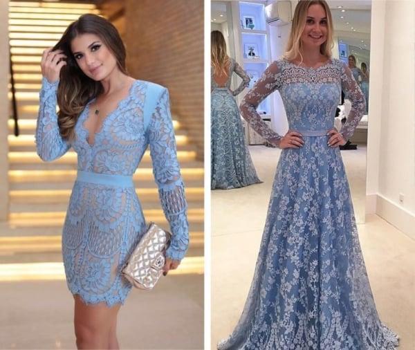 Vestidos azuis rendados curto e longo para casamento