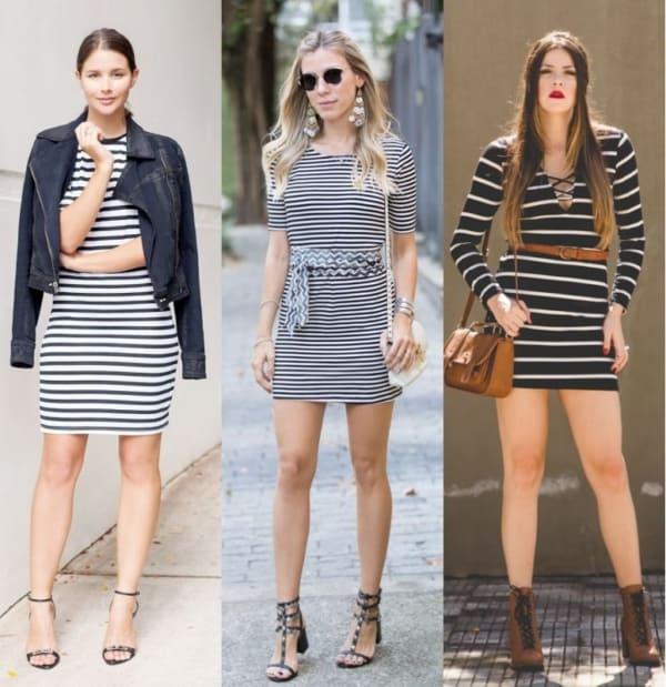 Modelos de vestidos com listras pretas e brancas