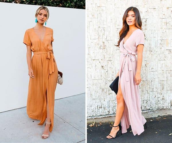 Modelos de vestidos longos transpassados com salto alto