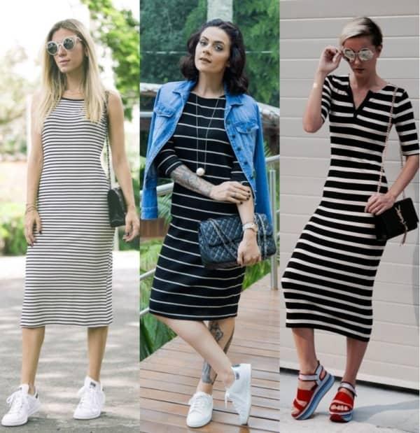 Modelos de vestidos midi com vários estilos de listras