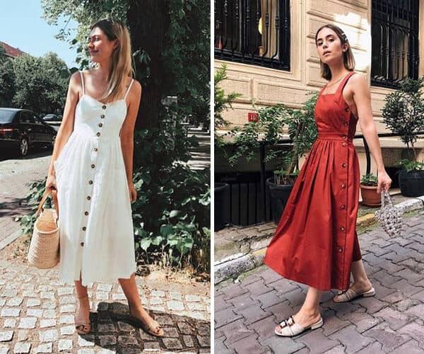 Modelos de vestidos românticos midi e rodados
