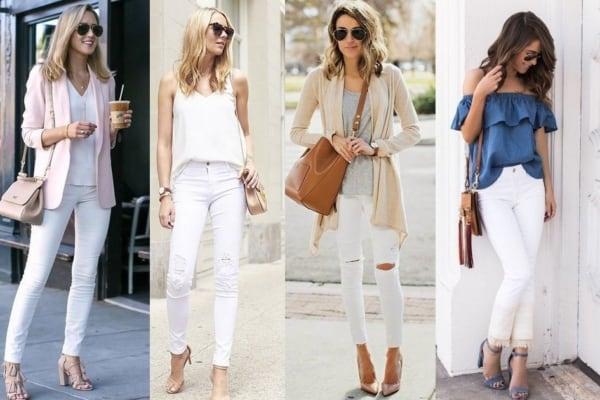 Visual feminino com calça skinny branca