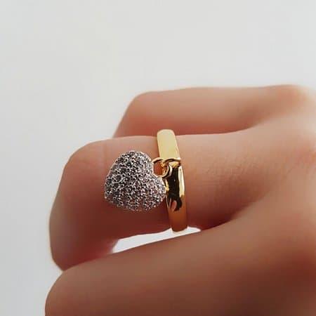 anel com pingente coracao 1