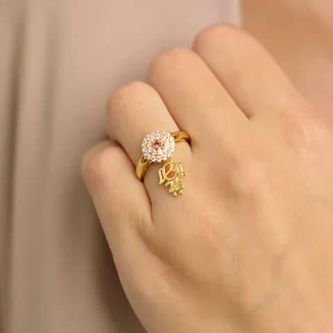 anel com pingente filha menina