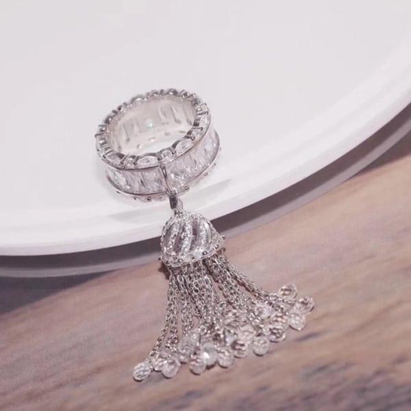 anel com pingente prata com pentende