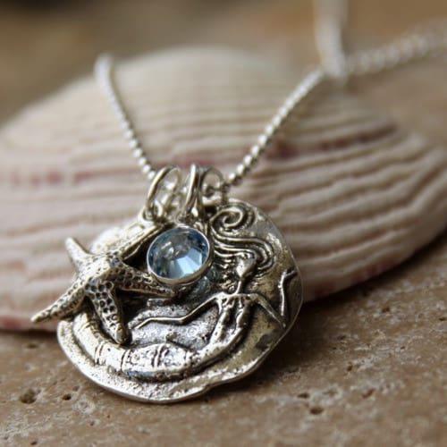 colar de sereia prata com sereia