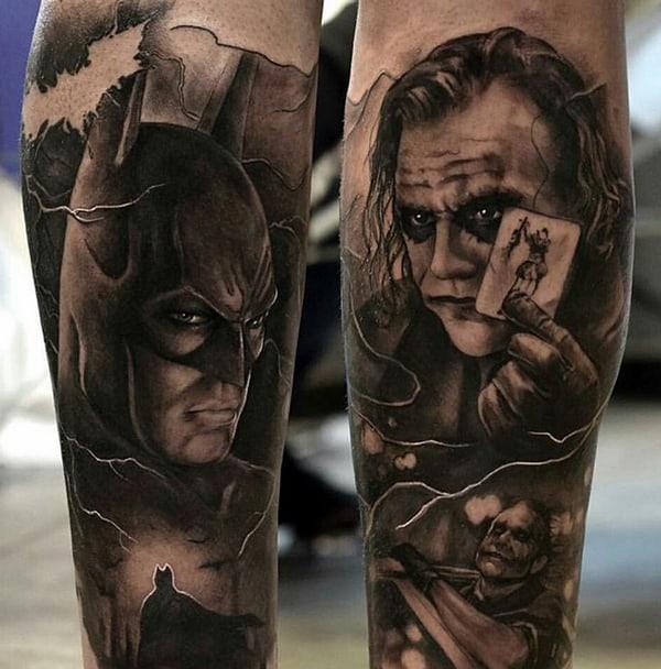 ideias de tatuagem Batman e Coringa