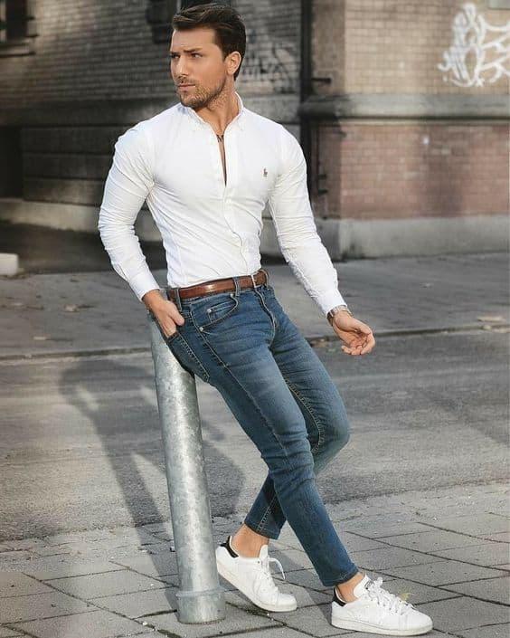 look com tênis branco masculino formal